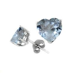 Natural 2.10 ct Aquamarine Heart Earrings .925 Sterling