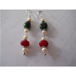 40.60 ctw Ruby and Emerald Earrings .925 Sterling