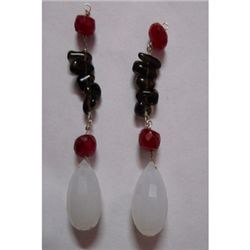 Natural 41.00ct Ruby,Semi Precious Earring .925 Sterlin