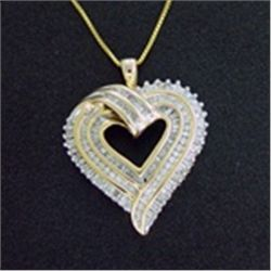 Diamond Heart Pendant and Chain Necklace