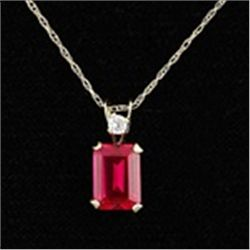 Ruby Pendant and Chain Necklace in 10K Gold