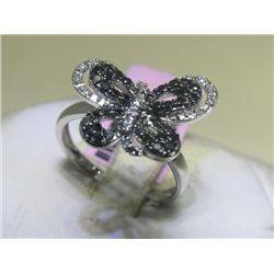 .07 CT Diamonds & .45 CT Black Diamonds Butterfly Ring