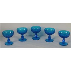 Fenton Glass 5 Colonial Blue Thumbprint Sherbet Set