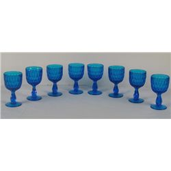 Fenton Glass 8 Colonial Blue Thumbprint Goblets Set
