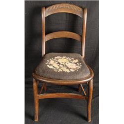 Antique Walnut Victorian Chair -Needlepoint Seat 1860