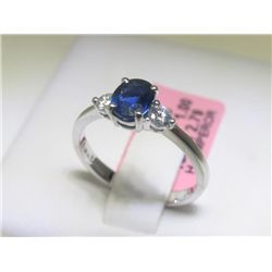 1 CT Blue Sapphire and .20 CT Diamonds 18K WG Ring