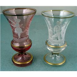 2 Bohemian Glass Hand Painted Winter Goblets