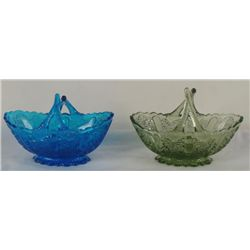 2 Fenton Daisy Button Baskets Colonial Blue & Green