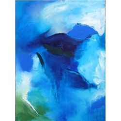 MOUNTAINS Abstract Acrylic Painting Paper Art ROBERTS