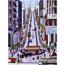 POWELL SREET CABLE CAR Folk Art Print Nicky Watanabe
