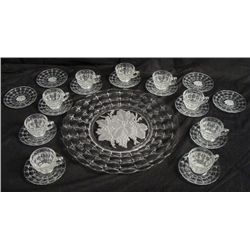 23 pc. Set Faustina Glass Tray w/ Cups & Saucers