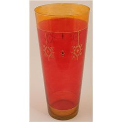Loren Zina Tall Hand Enameled Art Glass Vase Red