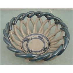 Ceramic Clay Fruit / Decorative Basket - Blue &amp; Grey