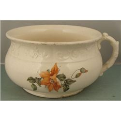 Large Vintage Ceramic Floral One Handled Washing Bowl