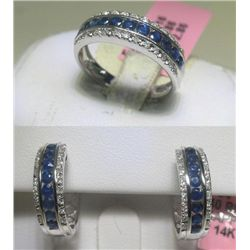 Blue Sapphire and Diamonds Earrings and Ring Set
