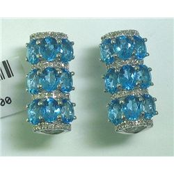 7.47 CT Blue Topaz and .28 CT Diamonds 14K WG Earrings