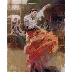 Pino Signed Art Print on Canvas Flamenco In Red