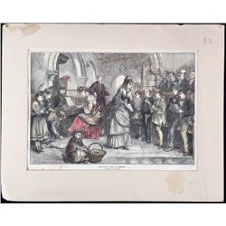 M.W. Ridley Antique Print -Village Choir London 1870s