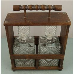 2 Glass Decanters w/ Wooden Portable Carrying Case