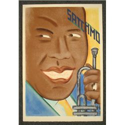 Seymour Chwast Signed Print Satchmo Louis Armstrong Art