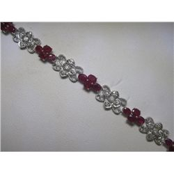 7.31 CT Ruby & .20 CT Diamonds 14K White Gold Bracelet