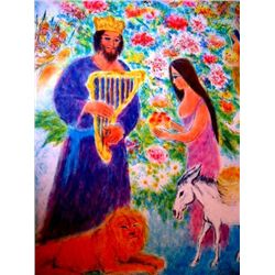 Moskowitz Signed Lithograph David &amp; Bathsheba