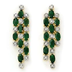 Genuine 4.03 ctw Emerald & Diamond Earrings Yellow Gold
