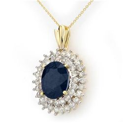 Genuine 11.2 ctw Sapphire &amp; Diamond Pendant 14K Gold