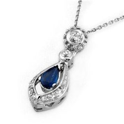 Genuine 0.53 ctw Blue Sapphire & Diamond Necklace Gold