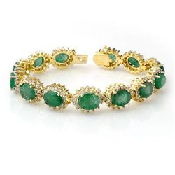 Genuine 30.05ctw Emerald & Diamond Bracelet Yellow Gold