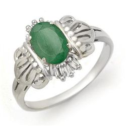 Genuine 0.81 ctw Emerald &amp; Diamond Ring 10K White Gold
