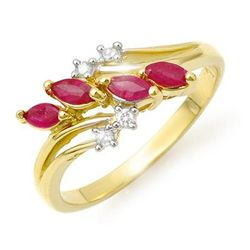 Genuine 0.40 ctw Ruby & Diamond Ring 10K Yellow Gold