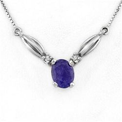 Genuine 1.30 ctw Tanzanite & Diamond Necklace 10K Gold