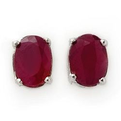 Genuine 1.50 ctw Ruby Stud Earrings 14K White Gold