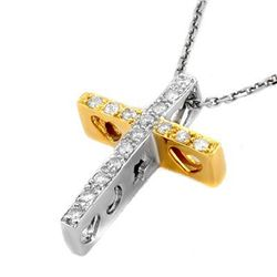 Natural 0.17 ctw Diamond Necklace 10K Multi tone Gold
