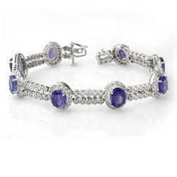 Genuine 21.25 ctw Tanzanite & Diamond Bracelet 14K Gold