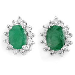 Genuine 3.85 ctw Emerald & Diamond Earrings White Gold