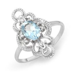 Genuine 0.83 ctw Blue Topaz & Diamond Ring White Gold