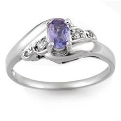 Genuine 0.42ct Tanzanite & Diamond Ring 10K White Gold