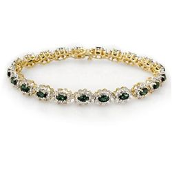 Genuine 9.42 ctw Emerald & Diamond Bracelet Yellow Gold