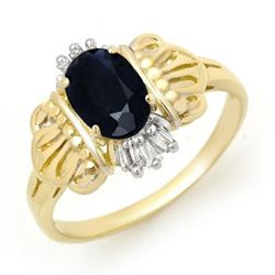 Genuine 1.04ctw Sapphire & Diamond Ring 10K Yellow Gold
