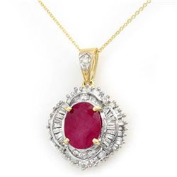 Genuine 6.26 ctw Ruby & Diamond Pendant Yellow Gold
