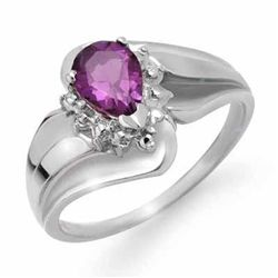 Genuine 0.56 ctw Amethyst & Diamond Ring 10K White Gold