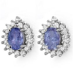 Genuine 3.63 ctw Tanzanite & Diamond Stud Earrings Gold
