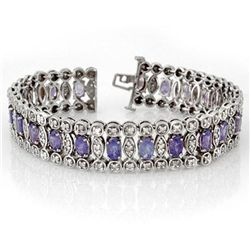 Genuine 17.50ctw Tanzanite & Diamond Bracelet 14K Gold