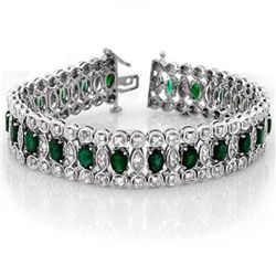 Genuine 14.5 ctw Emerald & Diamond Bracelet White Gold