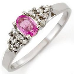Genuine 0.50 ctw Pink Sapphire & Diamond Ring 10K Gold