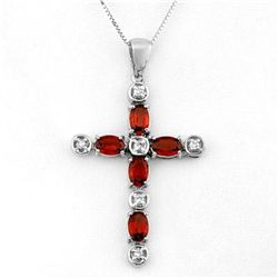 Genuine 3.15 ctw Garnet & Diamond Necklace White Gold