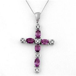 Genuine 2.15 ctw Amethyst & Diamond Necklace 10K Gold