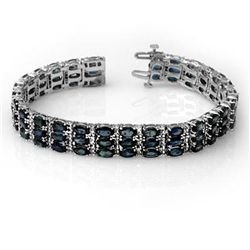 Genuine 30.26 ctw Blue Sapphire & Diamond Bracelet Gold